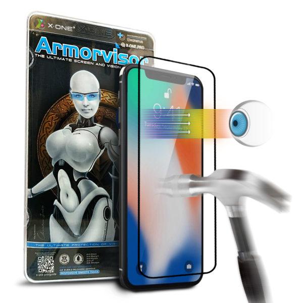 Противоударная защитная бронепленка для iPhone X  X-ONE Armorvisor Coverage на экран (850)